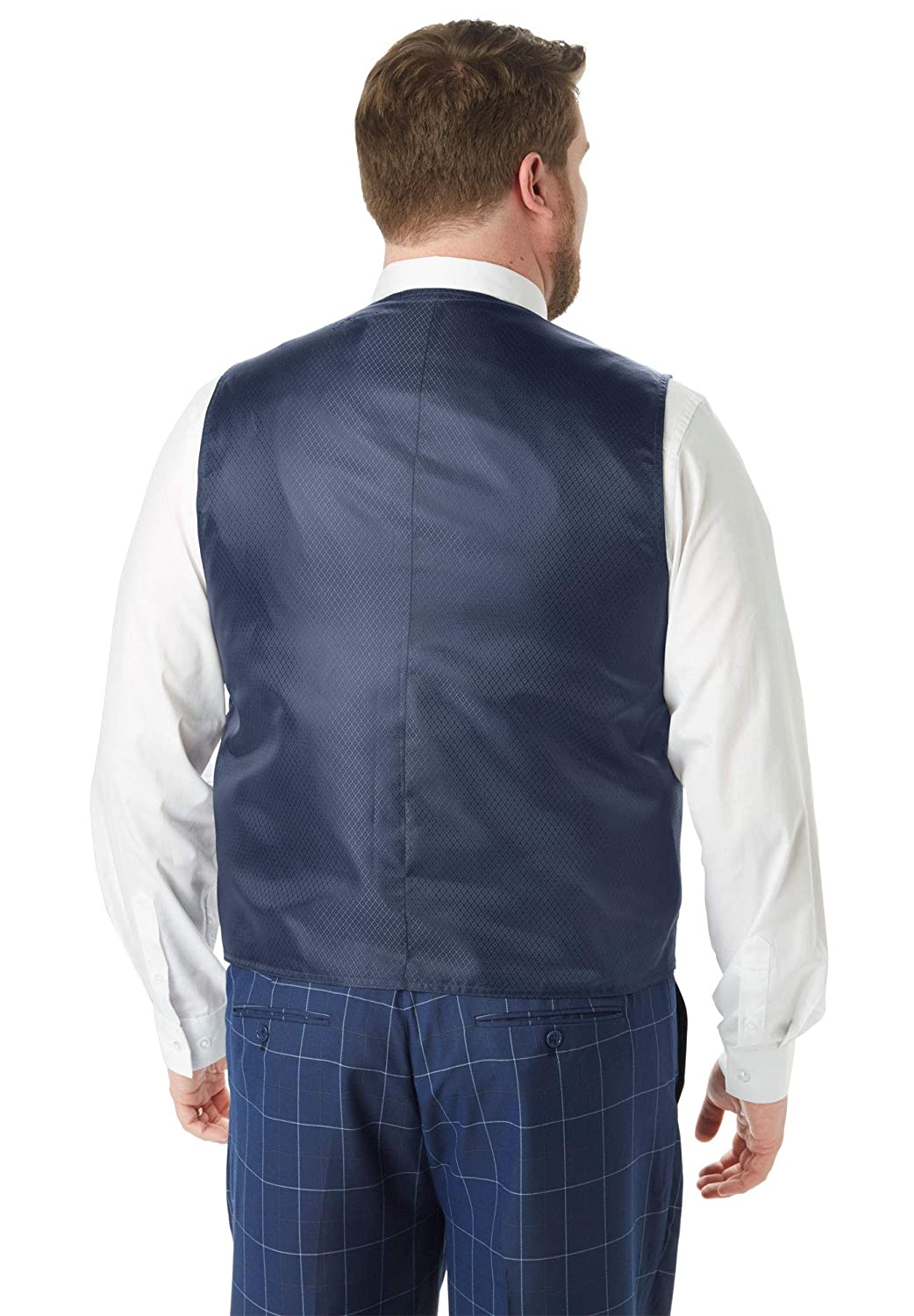 KingSize Signature Collection Mens Big /& Tall Signature Collection Easy Movement 5-Button Suit Vest New Navy Pindot Tall-56