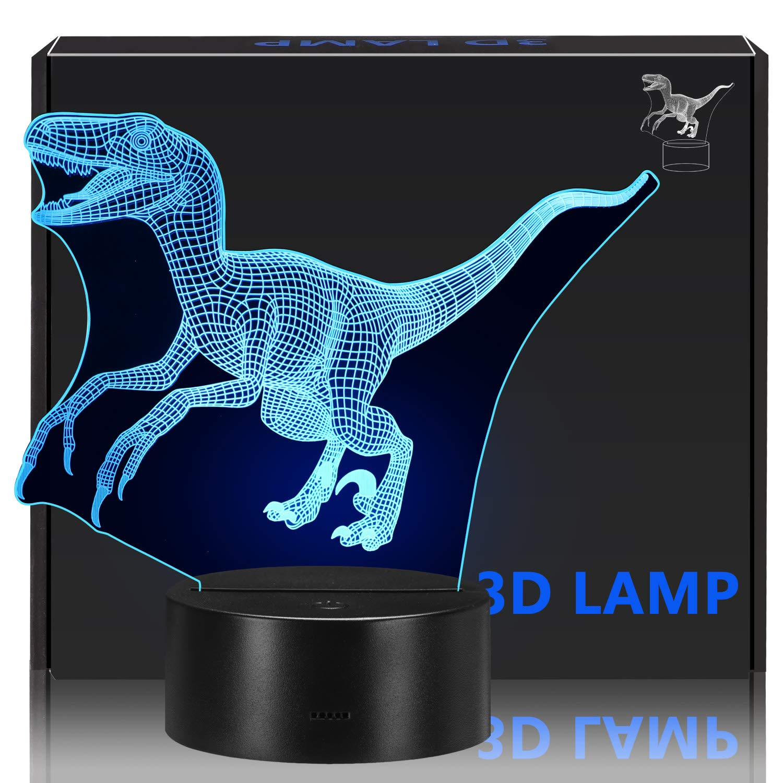 Children's 3D Dinosaur Night Light 7 Color Change Optical Illusion 3D LED Night Light, USB Creative Neon Light, Exquisite Children's Gift Home Decor