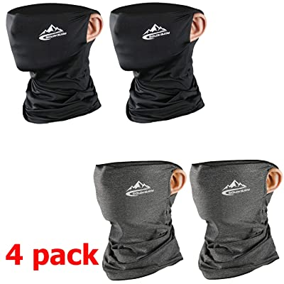 4 pack Motorcycle Mask - Unisex Outdoor Bandana Face Mask Sports Face Shield Sleeve Neck Gaiter for Women Men - Dustproof Windproof UV Sun Protection - Black and Gray: Automotive
