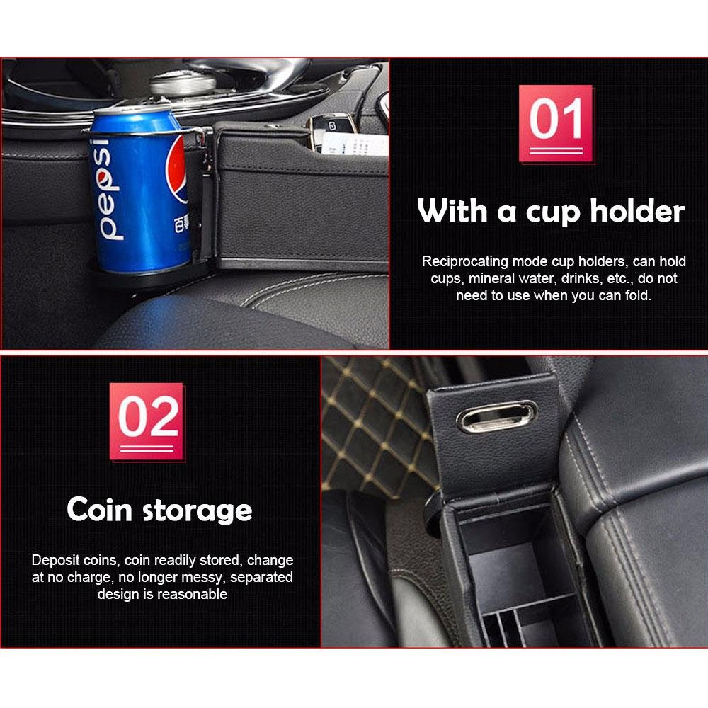 PU Leather Car Pocket Organizer Seat Console Gap Filler Side with Coin /& Cup Holder and 2 USB Charging Ports Driver and Passenger Side Handy Storage Organizer Console Side Pocket Car Organizer