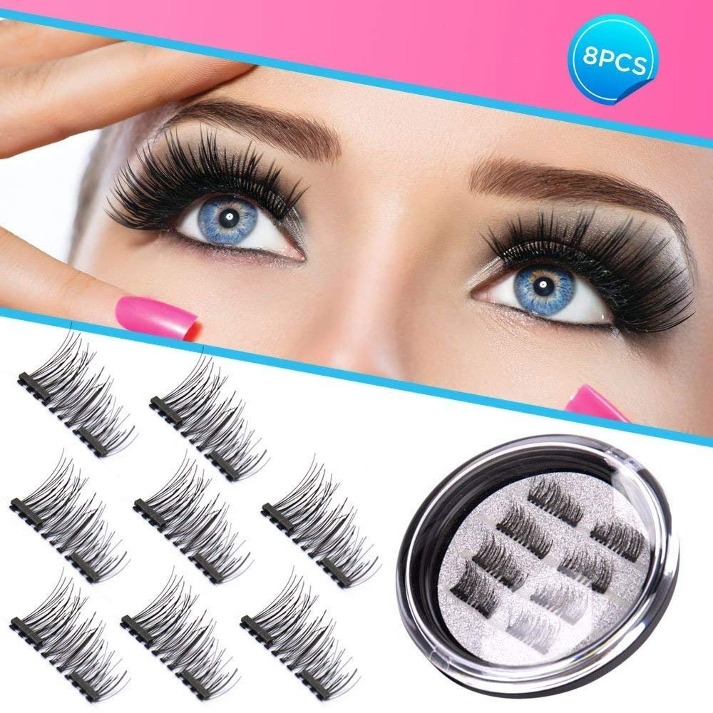 19e249e9ed7 Magnetic Eyelashes 3D Premium Quality False Eyelashes, Double Magnetic Fake  Eyelashes Natural Look 100% Handmade Black Nature Fluffy Long Soft Reusable  4 ...