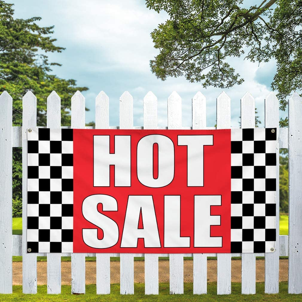 4 Grommets Set of 2 Vinyl Banner Sign Hot Sale #1 Business Hot Outdoor Marketing Advertising Red 28inx70in Multiple Sizes Available