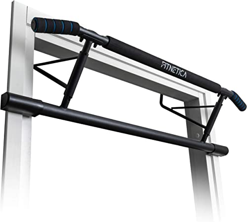 Fitnetica Pull Up Bar for Doorway - Ergonomic Angled Grip - Maximum Stability Chin Up Bar - Door Frame Protection - Folding Storage Design - No Assembly Required - Home Gym Workout Equipment