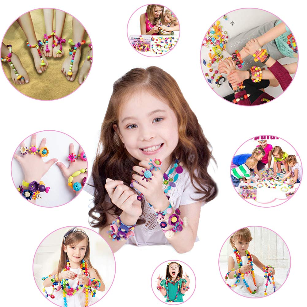 Necklace and Bracelet and Ring Creativity DIY Set Aster 8 Year 6 350+ PCS Kids Jewelry Making Kit - Pop Beads Set Educational Arts and Crafts Toys Gifts for Girls Age 4 5 7