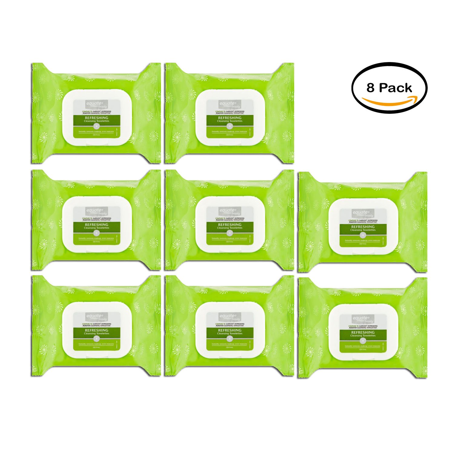 PACK OF 8 - Equate Beauty Refreshing Wet Cleansing Towelettes, 40 Ct