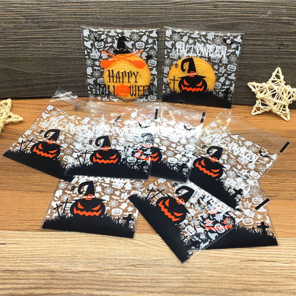 Cookie Candies TOPBATHY 200Pcs Halloween Self Adhesive Treat Bags//Cellophane Bags,for Bakery Candle Soap