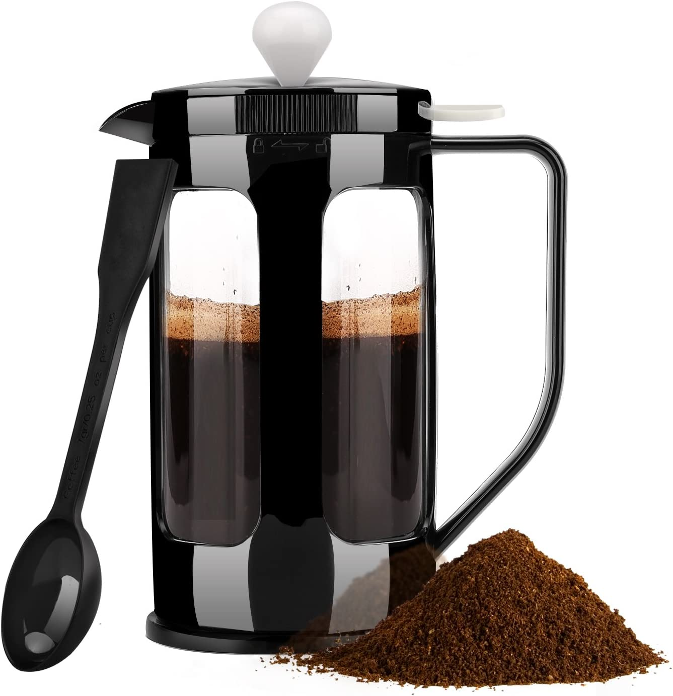Nuovoware French Press, Coffee Maker Tea Maker Filter Brew Tea with Heat Resistant Borosilicate Glass Carafe and Stainless Steel Filter 8 Cup 34 oz – Black