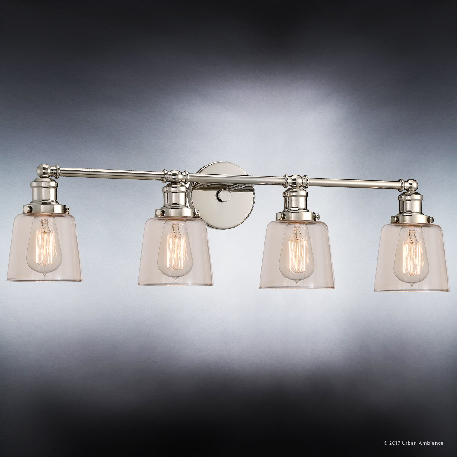 Luxury Industrial Chic Bathroom Vanity Light, Large Size: 9''H x 31.5''W, with Modern Style Elements, Nostalgic Design, Polished Nickel Finish and Light Champagne Glass, UQL2682 by Urban Ambiance by Urban Ambiance (Image #3)