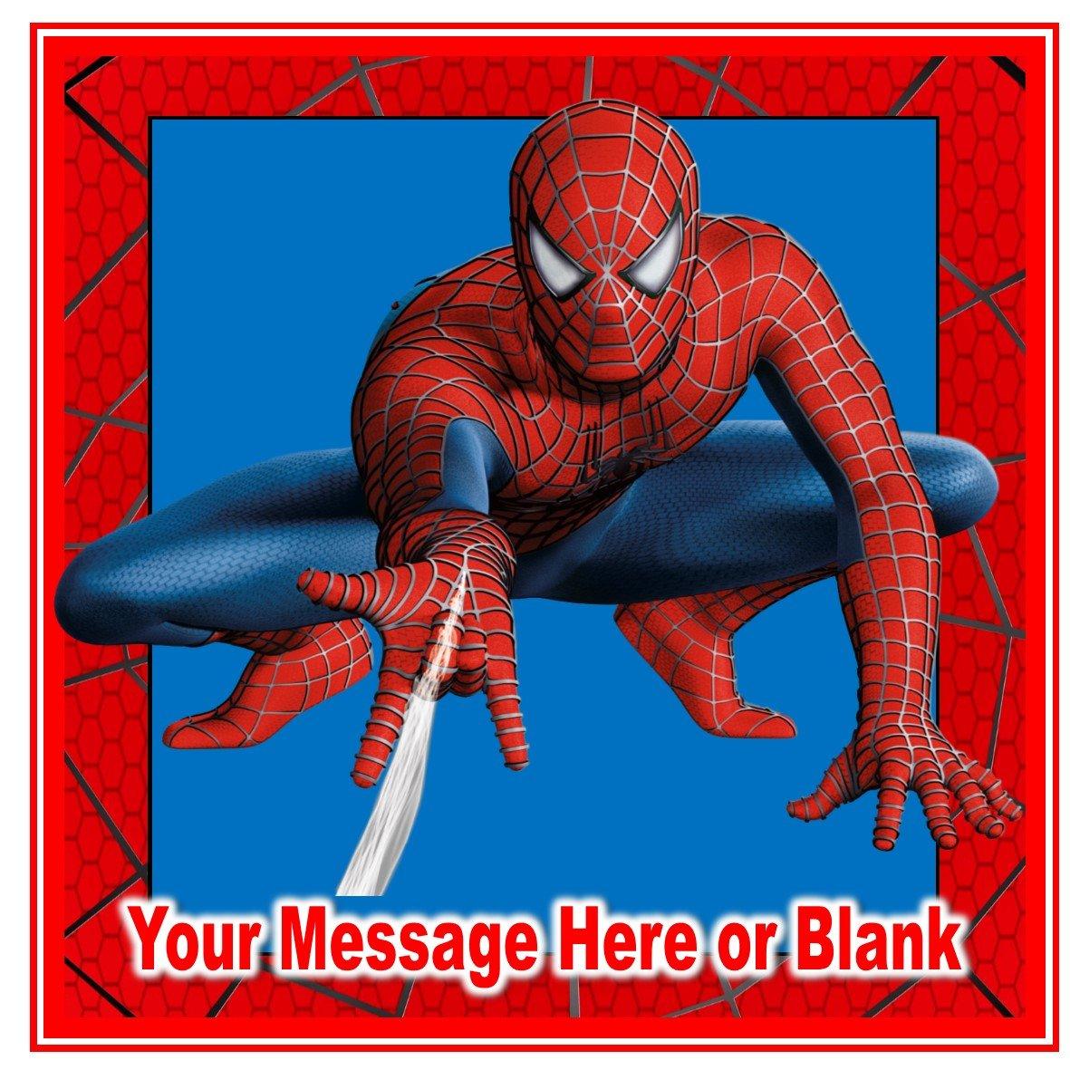 Cuadrado personalizado para decoración de tartas de cumpleaños con diseño de Spiderman, mide aproximadamente 19,05 cm (tamaño personalizable), en ...