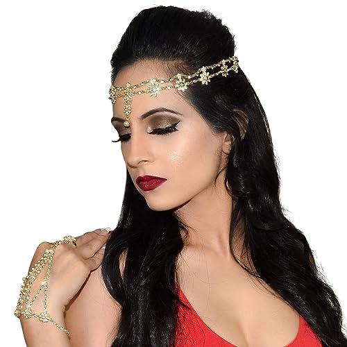 Hair Accessories for Women Gypsy Costume Fortune Teller Headpiece Hair Bands  Jewelry Antique Rhinestone Crystal Gold-Tone   Silver-Tone Belly Dancer  Genie ... 2bfbd2f1ada1