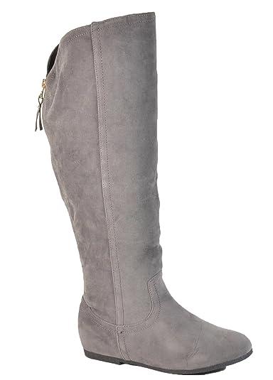 Wadenhohe Damen Keil Stiefel Stiefeletten Keilabsatz Flache Schlupfstiefel Wedges Langschaft 195 (41, Khaki)