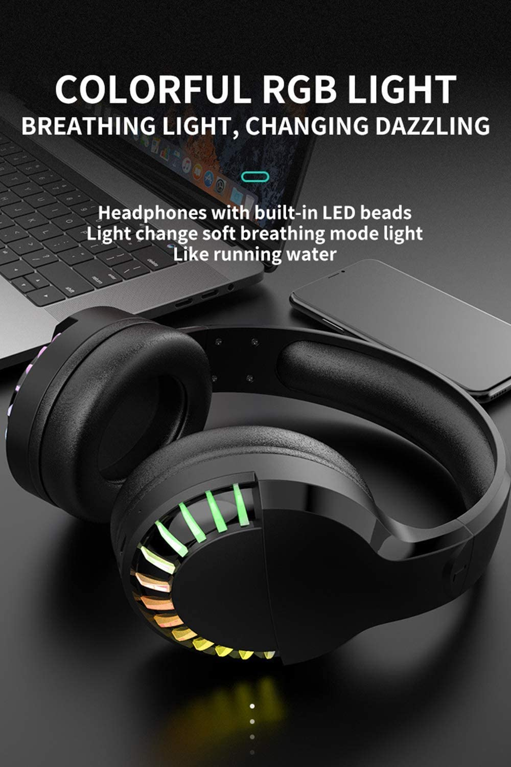 Low-latency Noise Reduction Headsets Are Suitable for Mobile Phones Laptops Ipads NGXIWW Gaming Headset Wireless In-ear Headphones with RGB Lighting
