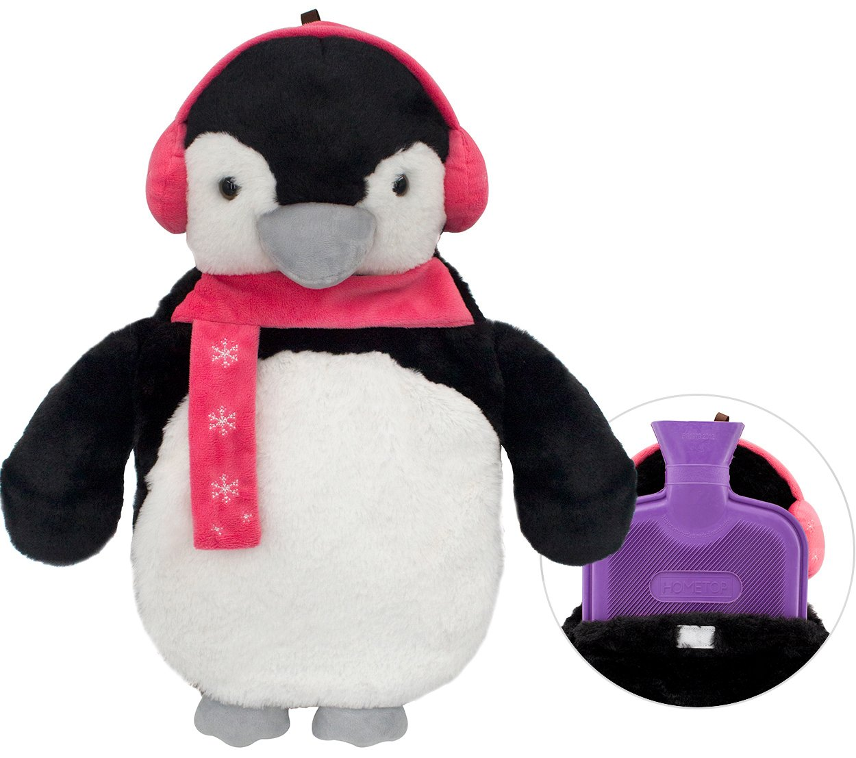 HomeTop Premium Classic Rubber Hot Water Bottle with Cute 3D Animal Cover (2L, Wilkes Penguin)