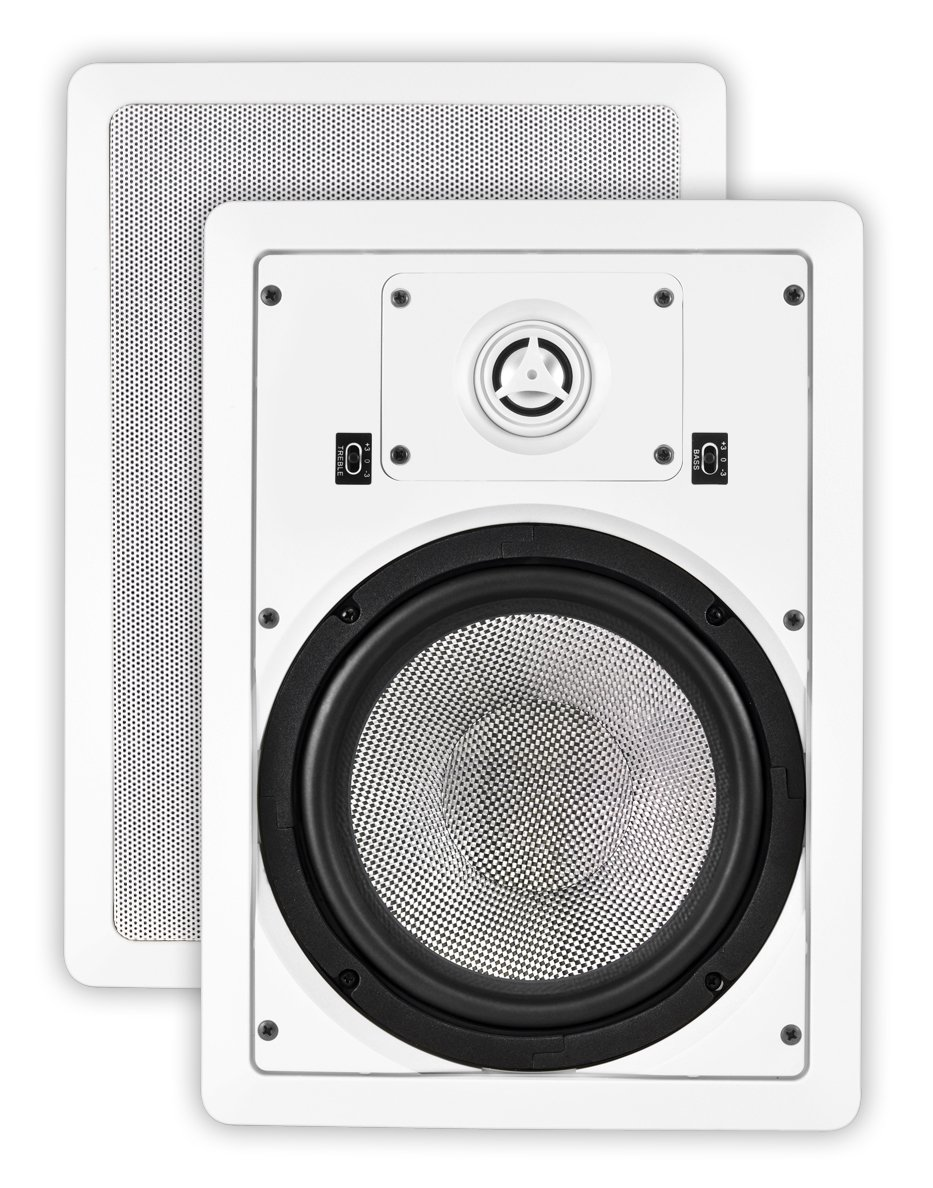 OSD Audio MK-W850 8-inch Kevlar Home Theatre In-Wall Speaker with Bass and Treble Swtich, Pair by OSD Audio