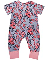 Greenafter Newborn Baby Girl Floral Printed Romper Outfits Sleeveless Summer Bodysuit