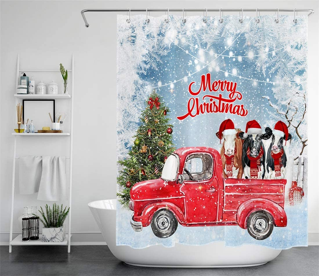 LB Christmas Shower Curtain Christmas Tree Farm Animal Cow with Xmas Hat in Red Truck Winter Snow Shower Curtains Hooks Rustic Country Style Bathroom Curtain Decor,59x70 Inch Waterproof Fabric