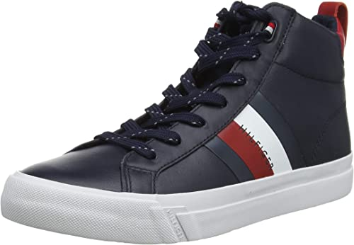 Tommy Hilfiger Flag Detail Leather Sneaker High, Scarpe da Ginnastica a Collo Alto Uomo