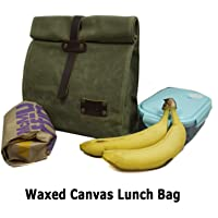 Waxed Canvas Lunch Bag, All Purpose Cord & Tool Bag, Vintage Canvas Storage Bag, Reusable Leather Lunchbox
