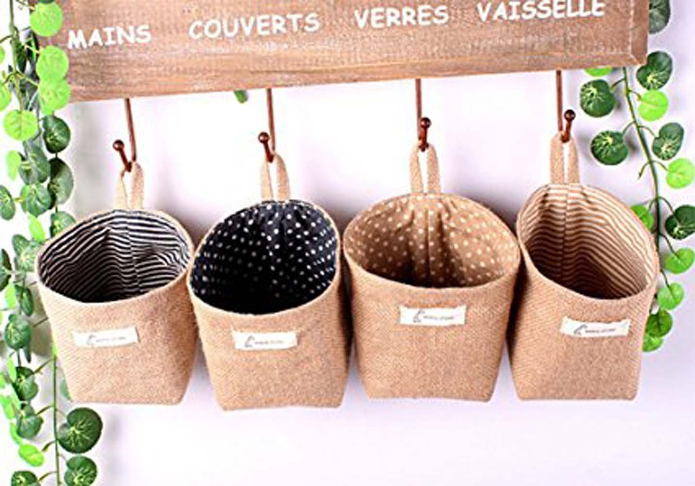 FANTASIEN 4 Pack linen Wall Door Hanging Storage Bag Case Basket Home Organizer Bin Decor,Toy Storage Cage,Office Desk Supplies Organizer Box ,hanging Flowerpot Holder-12X10cm
