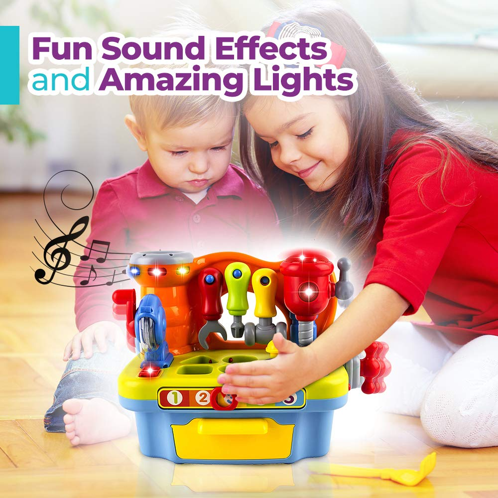 and Shape Sorter WolVol Musical Learning Workbench Toy with Tools Engineering Sound Effects and Lights