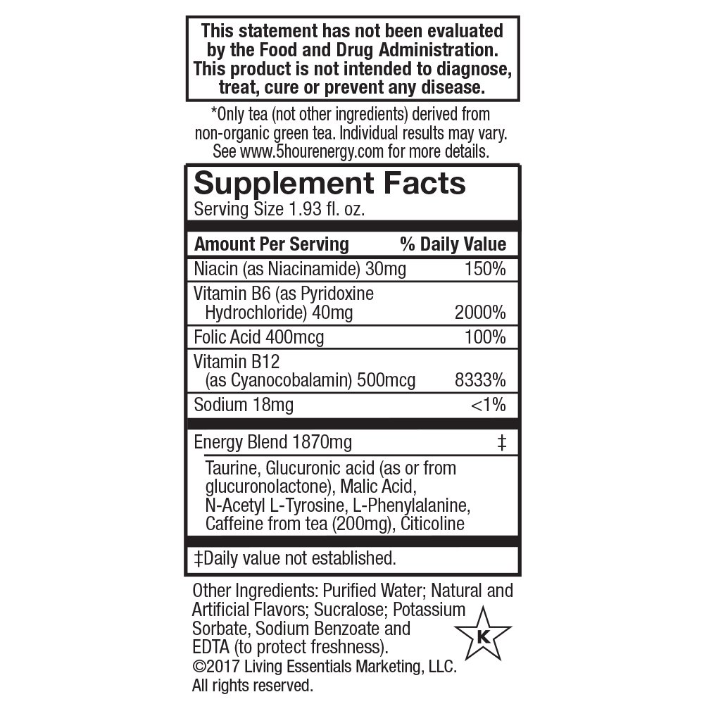 5-hour Green TEA – Raspberry Flavored – 24 Count