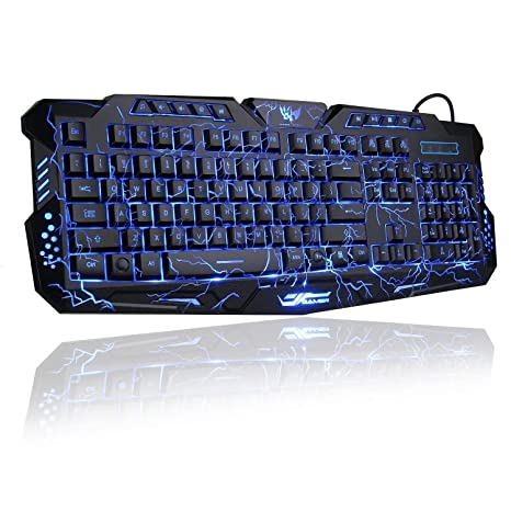 c040739d615 Gaming Keyboard, BlueFinger Mechanical Computer Keyboard USB Wired LED 3  Color Red/Blue/