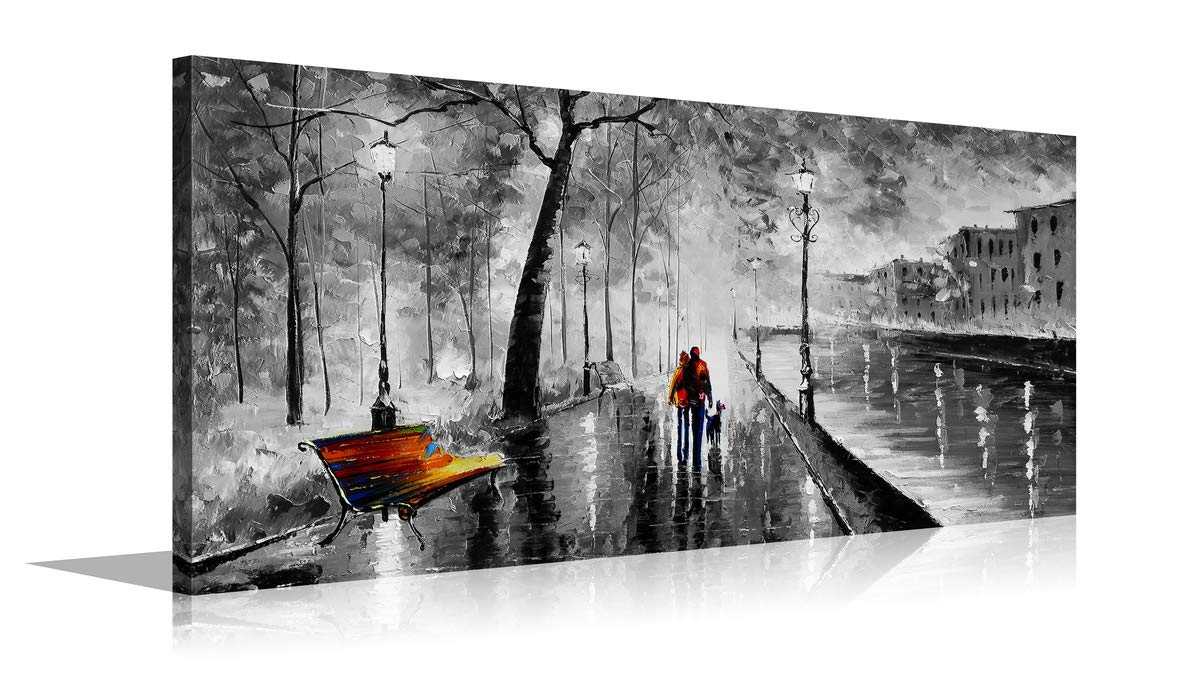 YPY Palette Knife Oil Paintings Abstract Modern City Street View Buildings Picture Artwork Walking Wall Art for Living Room (Black, 20X40in)
