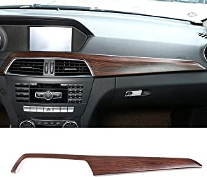 CHEYA ABS Pine Wood Grain Car Center Console Dashboard Cover Panel for Mercedes Benz C Class W204 2010-2013 Left Hand Drive Accessories