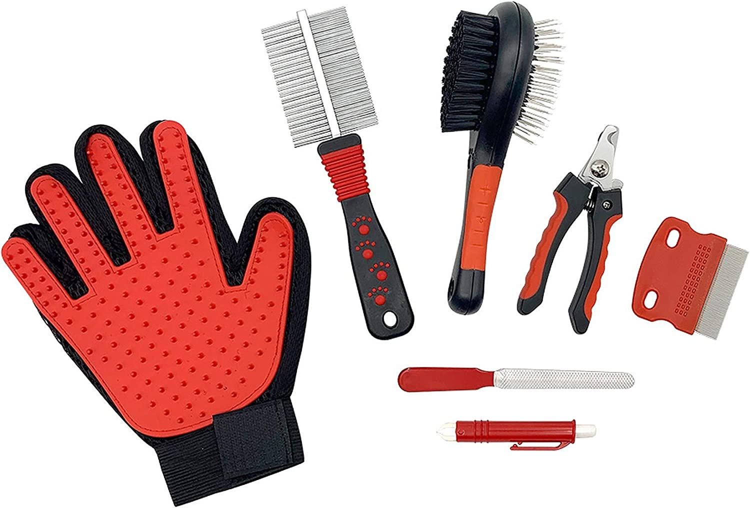 AkeedLimited [7 in 1 Pet Grooming Kit] Dog and Cat Nail Clippers, Nail File, Hair Remover Glove, Comb, Double-Sided Brush. The Complete Pet Grooming Set, Professional at Home Care, Red