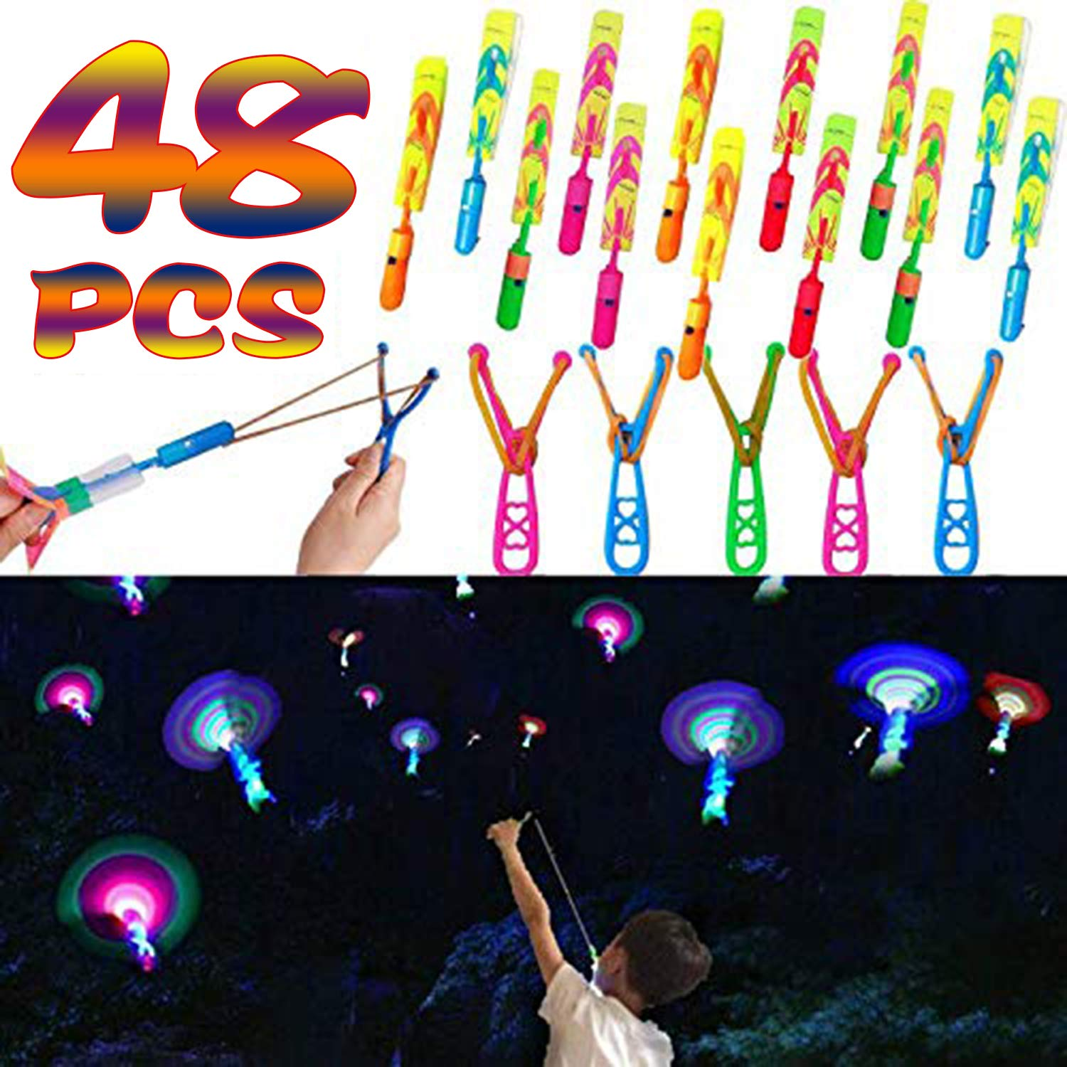 48 Pcs Light Up Slingshot Rockets Halloween Glow in The Dark Party Favors for Kids, LED Helicopters Arrow Rocket Helicopter Flying Toy Outdoor Game Holiday Party Supplies (24 Slingshot + 24 LED Rocket by Joyork