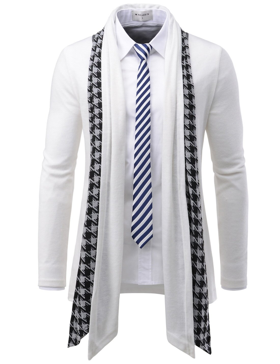 TheLees (GD92) Slim Fit Hound tooth Check Open Front Shawl Collar Stylish Wool Cardigan White US S(Tag size L)