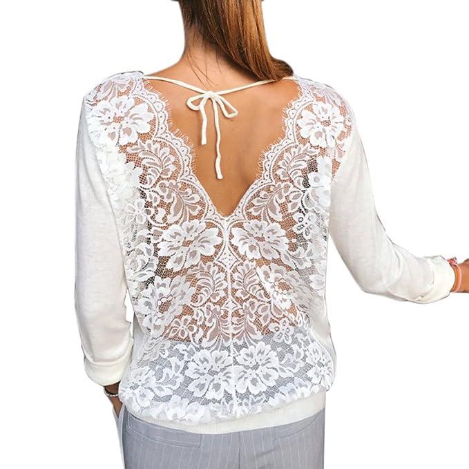 Hibote Mujeres Señoras Suelto Casual Sudaderas Cuello en V Cordón Tejer Hueco Largo Manga Camiseta Tops