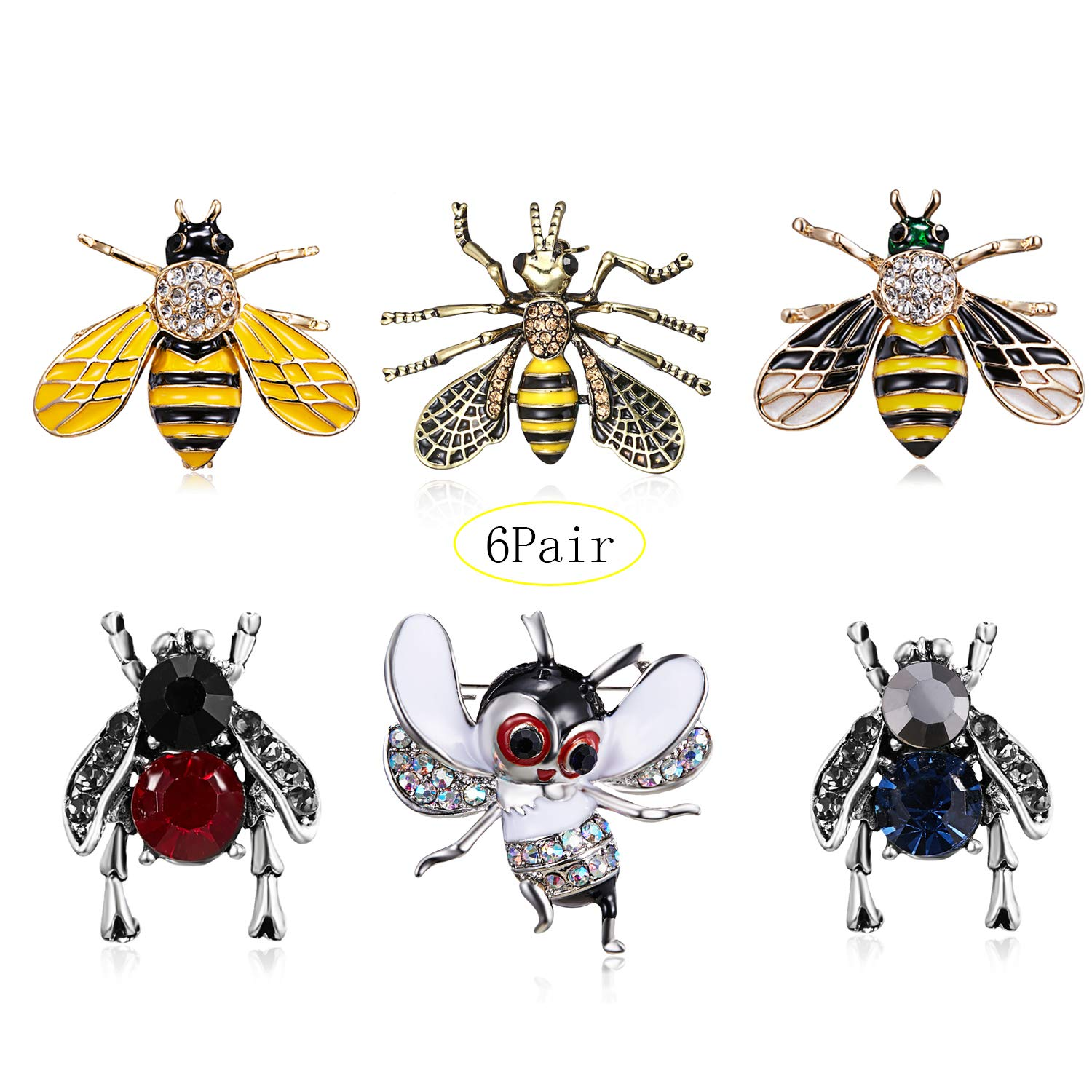 3Pcs Cute Honeybee Enamel Brooches Pin Antique Crystal Rhinestones Bee Scarf Clips for Women Girls (Style5) by beemean (Image #1)