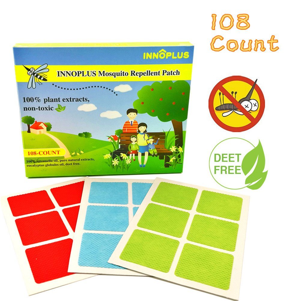 INNOPLUS 108 COUNT Mosquito Repellent Patch, 100% Natural, Safe for Baby, Kids, Pets and Adults, Keeps Mosquito Far Away for Running Camping fishing Gardening Hiking
