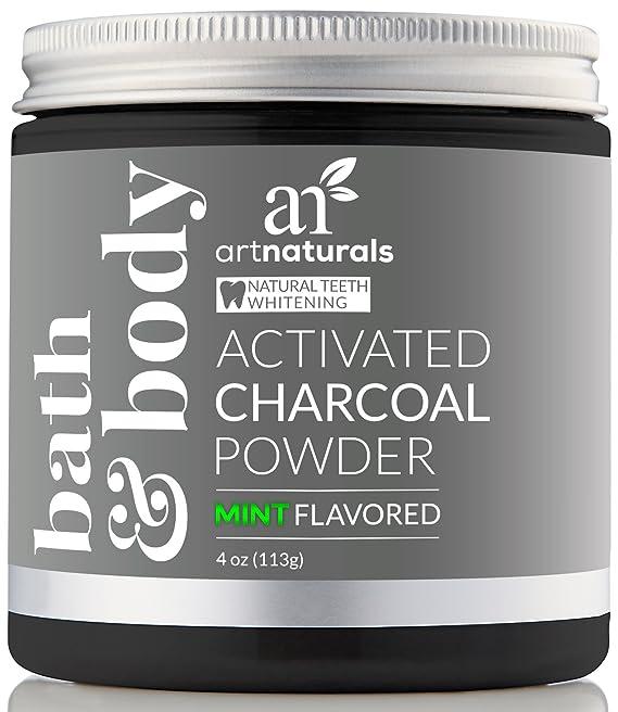ArtNaturals Carbón Activado Para Blanqueamiento Dental - (4 Oz / 113g) - Menta Sabor - Polvo Fino Carbon Activado Dientes Blancos - Activated Charcoal ...