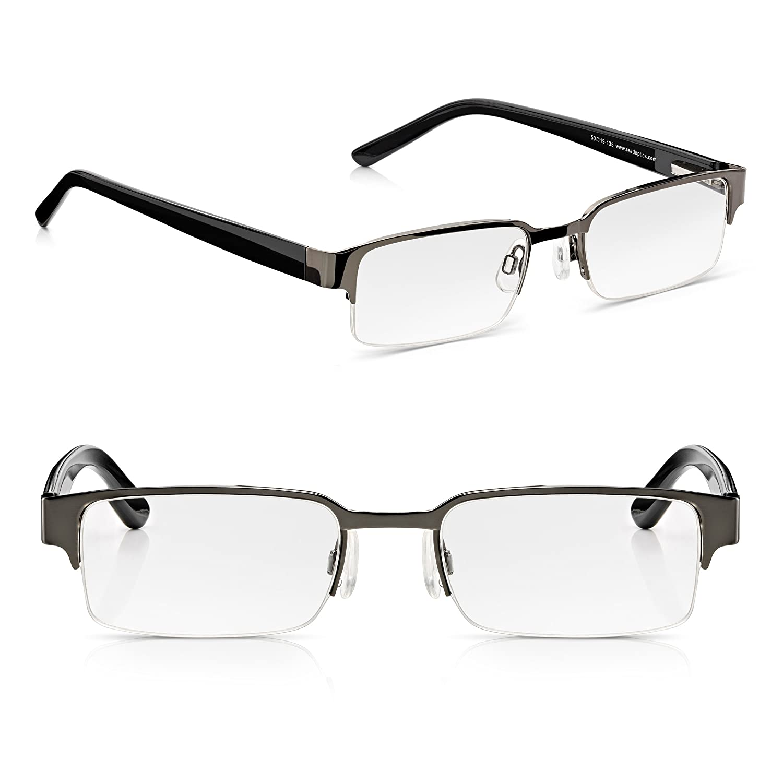 Read Optics x2 Pack de Gafas de Bolsillo de Lectura Presbicia de Hombre +2.00 Dioptrías. Estilo Retro, Negras, Bisagras de Resorte y Medio Marco. ...