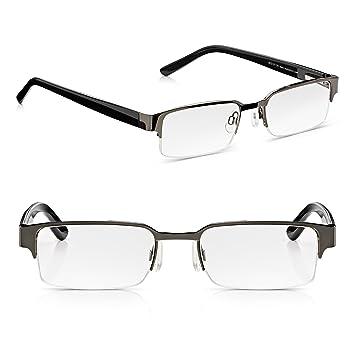 094333be6b7e Read Optics 2 Pack Black Half Frame Reading Glasses: Mens Retro Ready  Readers with Spring