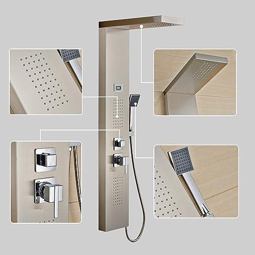 2 opinioni per Auralum® Pannello colonna doccia idromassaggio in acciaio 4 funzioni set doccia