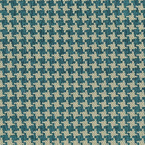 - Turquoise Blue Houndstooth Woven Jacquards Upholstery Fabric by the yard