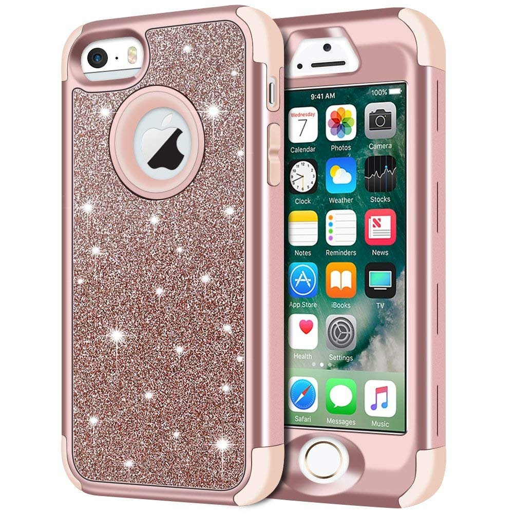 iPhone SE Case, iPhone 5S Case, iPhone 5 Case, Anuck 3 in 1 Hybrid Shockproof Protective Case for Girls Cute Bling Sparkly Glitter Heavy Duty Armor ...