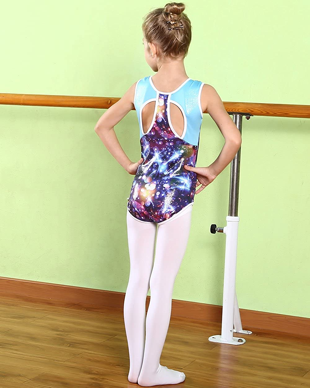 BAOHULU Gymnastics Leotards for Toddler Girls Shiny Spliced Athletic Dance Clothes with Hair Scrunchie