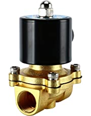 "Homend 1/2"" NPT AC110V Brass Electric Solenoid Valve Normally Closed Water Oil Air Gas Two-Position Two-Way Solenoid Valve (1/2"" Brass)"
