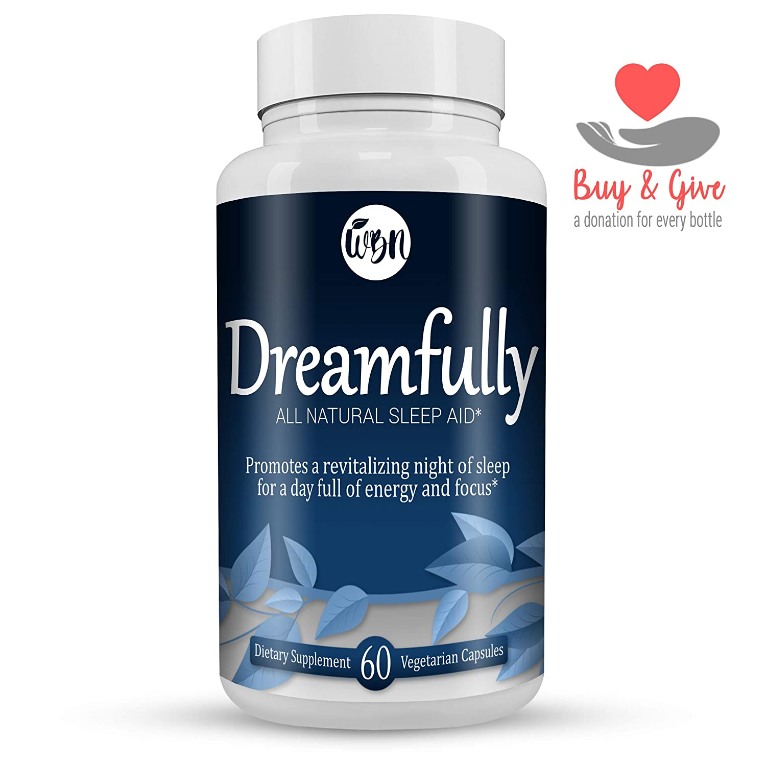 DREAMFULLY Natural Sleep Aid – Melatonin, Magnesium, Chamomile Valerian Herbal Blend to Support a Calm Relaxed Night – 60 Vegetarian Capsules