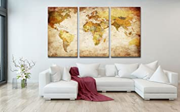 Youkuart Canvas Prints Map Art, 3 Panels World Map Wall Art Antiquated  Style, Framed