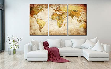 Amazon youkuart canvas prints map art 3 panels world map wall youkuart canvas prints map art 3 panels world map wall art antiquated style framed gumiabroncs Gallery