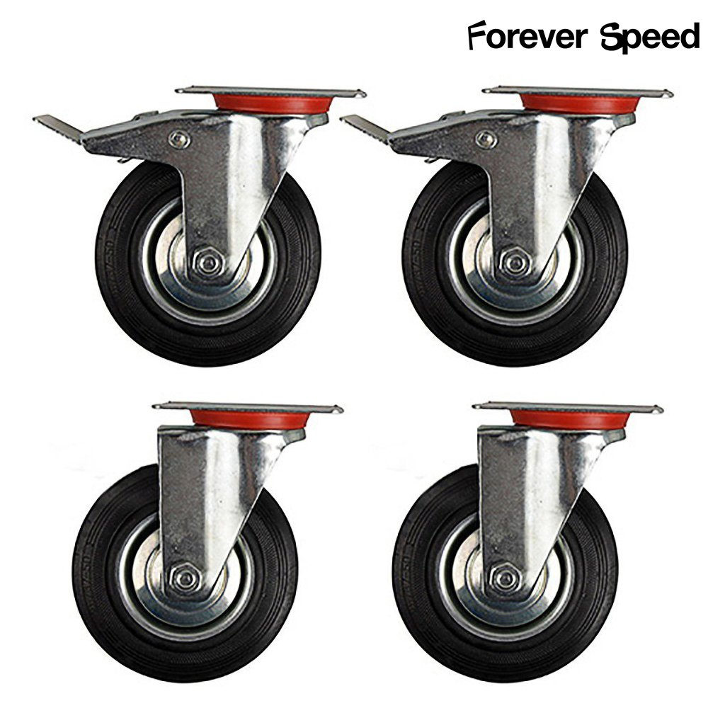 Forever Speed 4 x 85mm Castors Heavy Duty Castors Wheels Swivel Castors with Brake Maximum Load 50KG per Castor Black Rubber Sheet Steel Galvanised Silver/Black