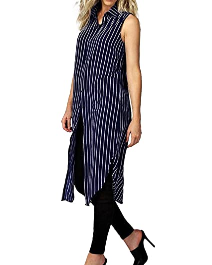 9b4cc89e88fe StyleDome Women Chiffon Sheer Vertical Stripe Lapel Sleeveless Button Down  Long Vest Tops Shirt Dress Blue