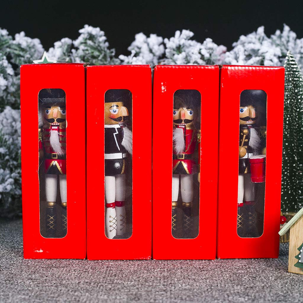 GuanjunLI 1Pc Wooden Nutcracker Doll Soldier Miniature Figurines Vintage Handcraft Puppet New Year Christmas Ornaments Home Decor