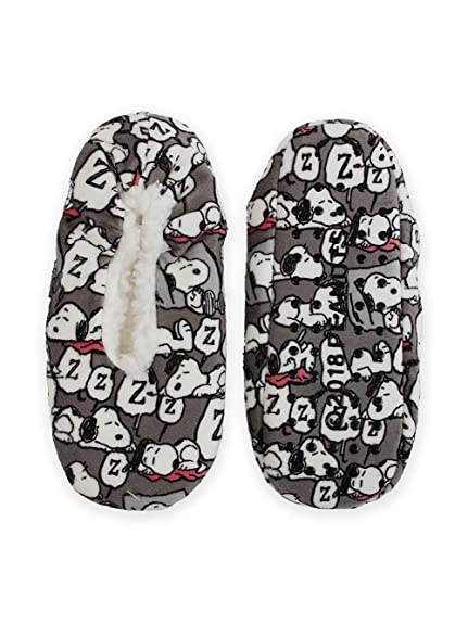 db17859f80 Snoopy Charlie Brown Peanuts Printed Fuzzy Babba Bootie Slipper Socks (m l