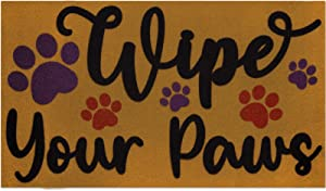 Wipe Your Paws Floor Mat Indoor Outdoor Puppy Doormat with Paw Print Rustic Home Front Door Rugs Gift for Dog Lover Funny Entrance Decoration Supplies 17 x 30 Inches